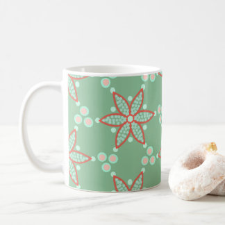 Deep orange florals with contrasting spots coffee mug