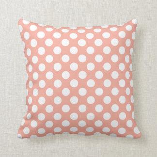 Deep Peach Polka Dots Throw Pillow