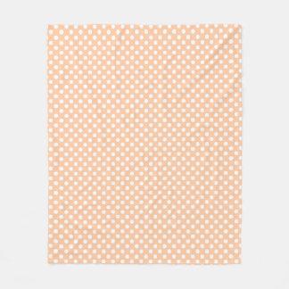Deep Peach Polkadots Fleece Blanket