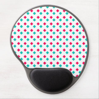 Deep Pink and Aqua Diamonds on White Gel Mousepad