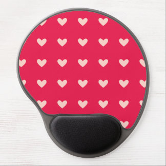 Deep Pink and Cream Hearts Pattern Gel Mouse Pad