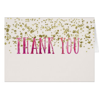 Deep Pink and Faux Gold Thank You Card