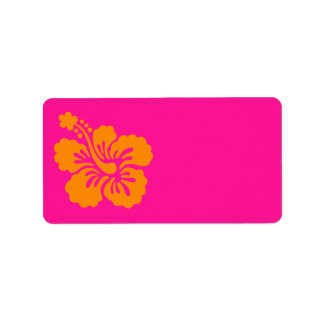Deep Pink and Orange Hibiscus Label