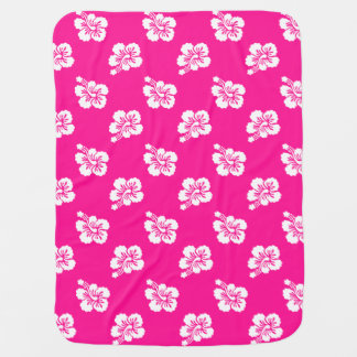 Deep Pink and White Hawaiian Flower Pattern Baby Blanket