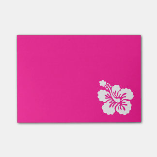 Deep Pink and White Hibiscus Post-it Notes
