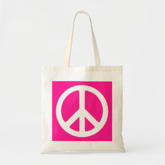 Deep Pink and White Peace Symbol Tote Bag