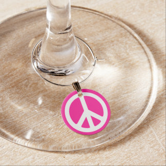 Deep Pink and White Peace Symbol Wine Glass Charm