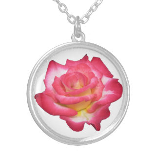 Deep Pink and yellow Rose Round Pendant Necklace
