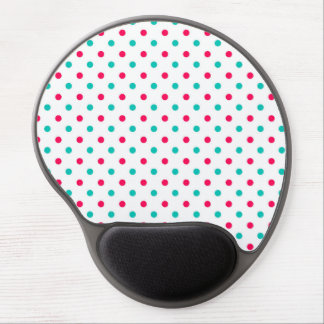 Deep Pink, Aqua, White Polka Dotted Gel Mouse Pads