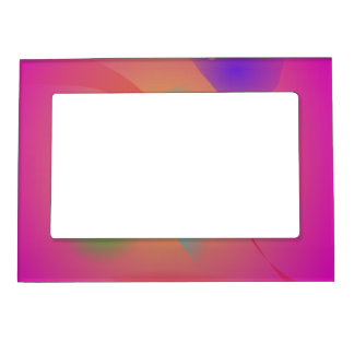 Deep Pink Contrasting Colors Picture Frame Magnet