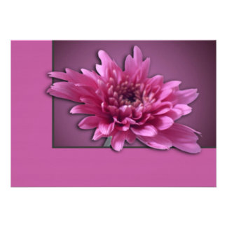 Deep Pink Daisy Custom Invites