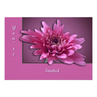 Deep Pink Daisy Personalized Invite