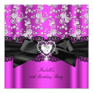 "Deep Pink Diamond Heart Roses Birthday Party 3 5.25"" Square Invitation Card"