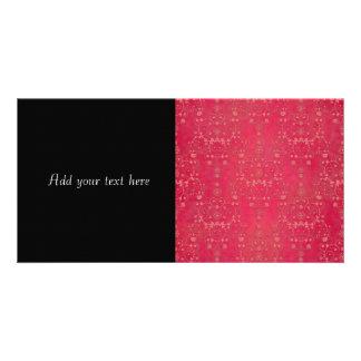 Deep Pink Floral Damask Pattern Photo Greeting Card
