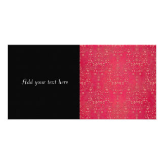 Deep Pink Floral Damask Pattern Customized Photo Card