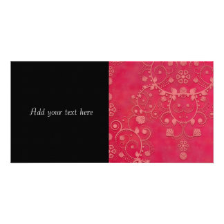 Deep Pink Floral Damask Pattern Photo Card Template