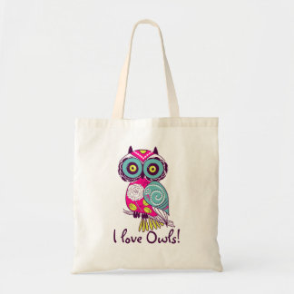 Deep Pink Floral Owl I Love Owls Tote Bag