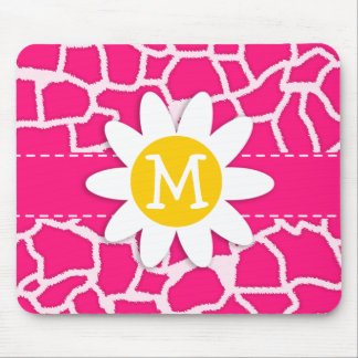Deep Pink Giraffe Animal Print; Daisy Mousepad