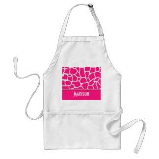 Deep Pink Giraffe Animal Print; Personalized Standard Apron