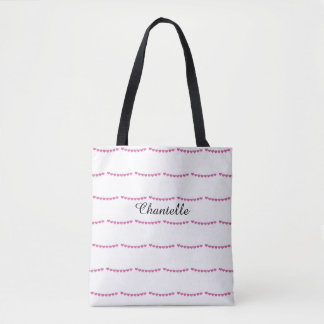 Deep Pink Heart Pattern Name Tote Bag