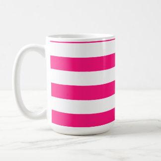 Deep Pink Horizontal Stripes Basic White Mug