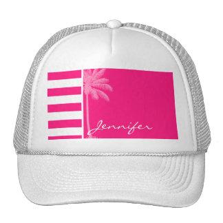 Deep Pink Horizontal Stripes; Summer Palm Trucker Hat
