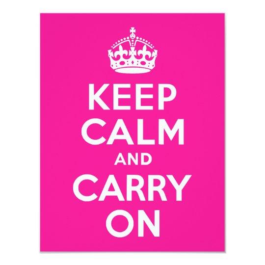 Deep Pink Keep Calm and Carry On 11 Cm X 14 Cm Invitation Card