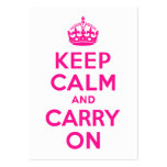Deep Pink Keep Calm and Carry On Large Business Cards (Pack Of 100)