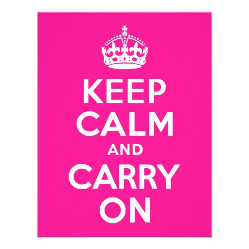 Deep Pink Keep Calm and Carry On Custom Announcement