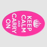 Deep Pink Keep Calm and Carry On Oval Sticker