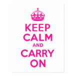 Deep Pink Keep Calm and Carry On Postcard