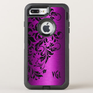 Deep Pink Metallic Texture & Black Floral Lace OtterBox Defender iPhone 8 Plus/7 Plus Case