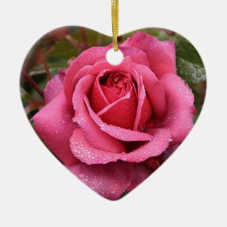 Deep Pink Morning Rose Ceramic Heart Decoration