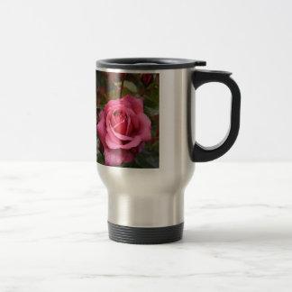 Deep Pink Morning Rose Stainless Steel Travel Mug