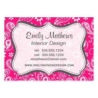 Deep Pink Paisley Large Business Cards (Pack Of 100)