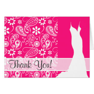 Deep Pink Paisley Note Card