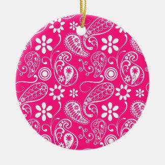 Deep Pink Paisley Christmas Tree Ornaments