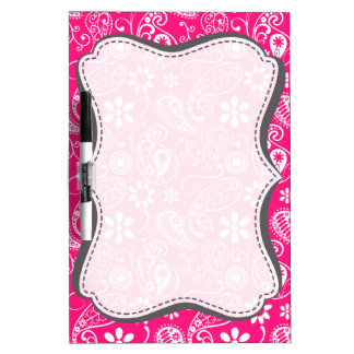 Deep Pink Paisley Dry Erase Whiteboards