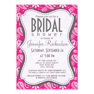 Deep Pink Paisley Personalized Announcement