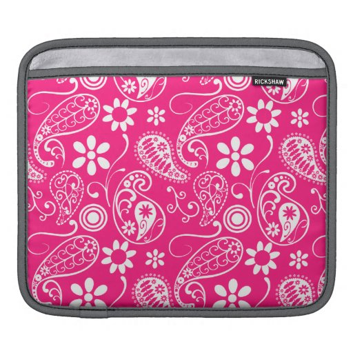 Deep Pink Paisley Sleeve For iPads