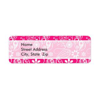 Deep Pink Paisley Return Address Label