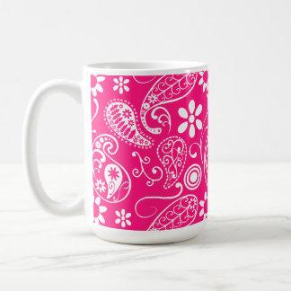 Deep Pink Paisley Mugs