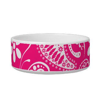 Deep Pink Paisley Pet Food Bowls