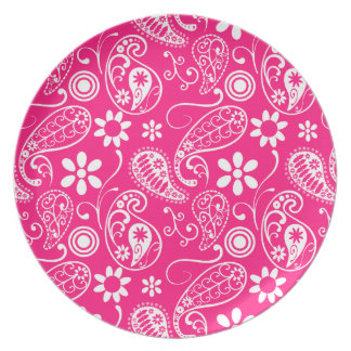 Deep Pink Paisley Plates