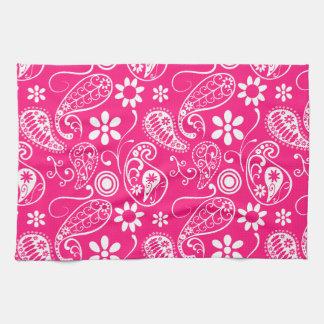 Deep Pink Paisley Towels