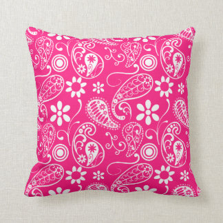 Deep Pink Paisley Throw Pillow