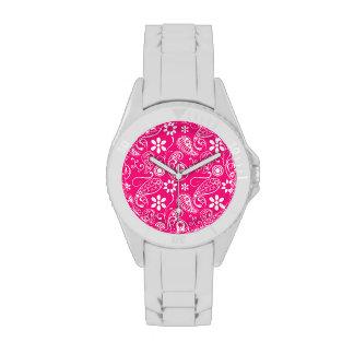 Deep Pink Paisley Wristwatches
