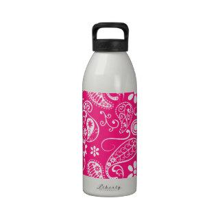 Deep Pink Paisley Reusable Water Bottles