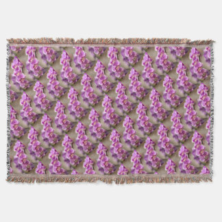 Deep Pink Phalaenopsis Orchid Flower Chain Throw Blanket