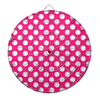 Deep Pink Polka Dots Dart Boards
